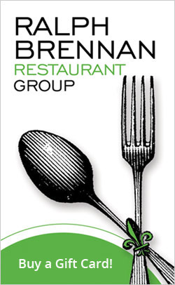 A spoon, a fork, and the Ralph Brennan Restaurant Group Logo