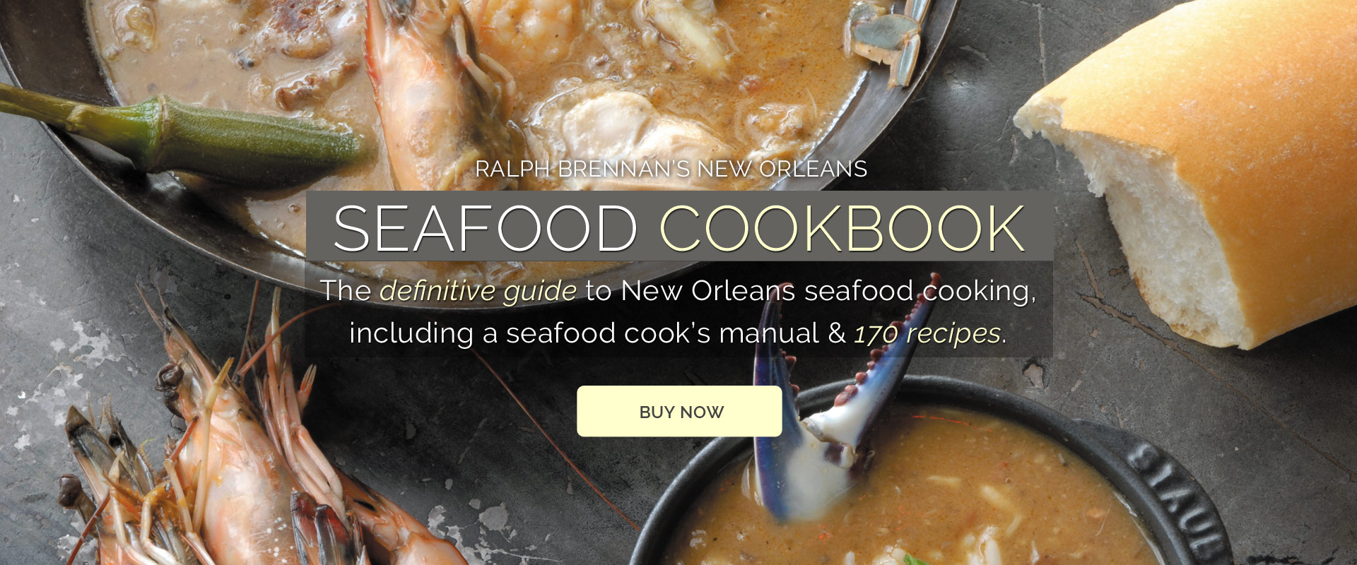 Ralph Brennan's New Orleans Seafood Cookbook.  The definitive guide to New Orleans seafood cooking, including a seafood cook's manual and 170 recipes.  Click to buy online.