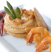 Shrimp and Crawfish Vol-au-Vents with Crawfish Cardinale Sauc