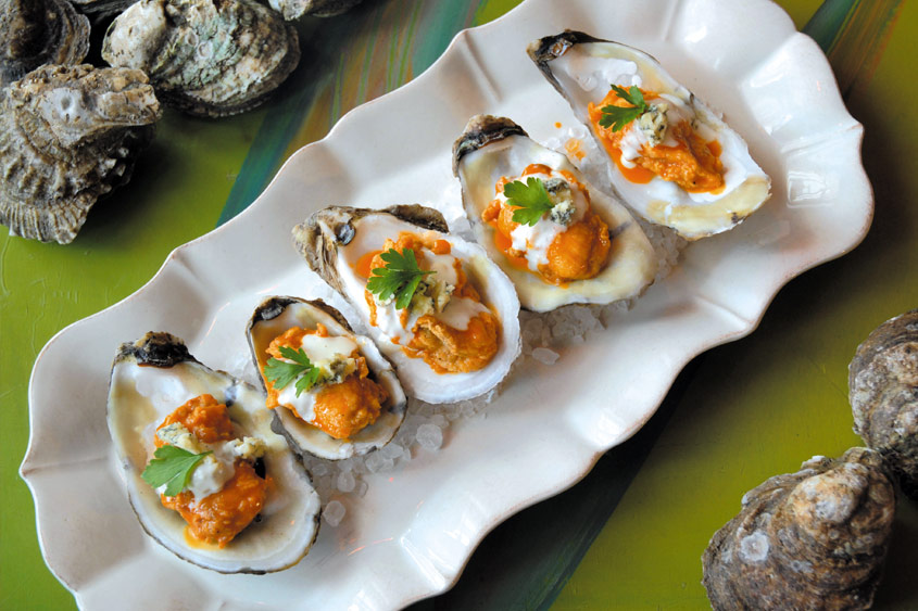 BBQ Oysters with Blue Cheese Dipping Sauce at Red Fish Grill