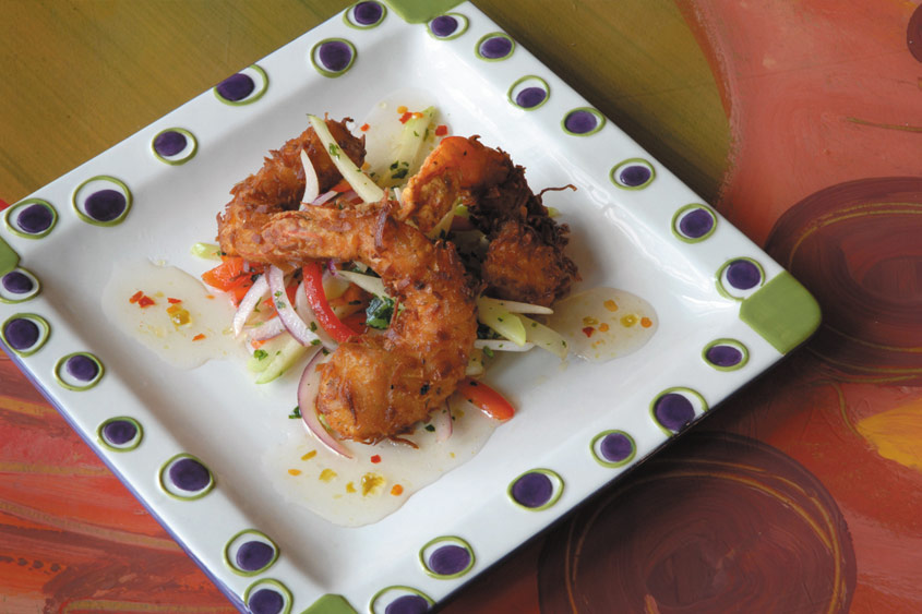 Coconut-Crusted Shrimp with Hot-Pepper-Jelly Sauce and Mirliton Slaw