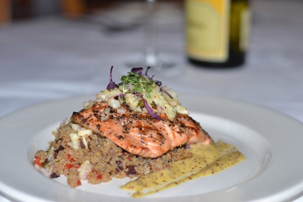 Grilled Salmon & Eggplant Quinoa at Red Fish Grill