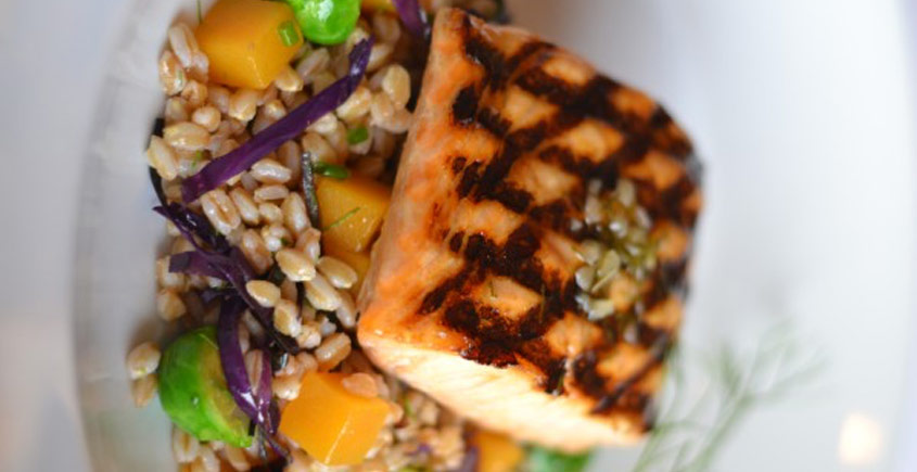 Grilled Atlantic Salmon On A Warm Farro And Vegetable Salad